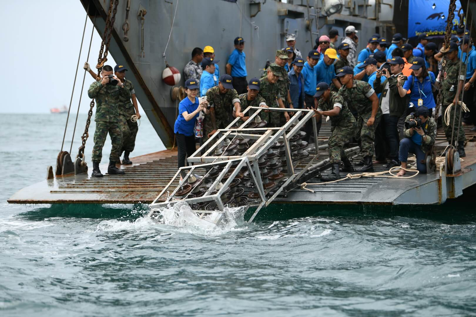 EGAT and Royal Thai Navy locate artificial reefs made from